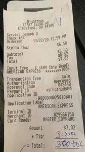 Klant betaalde $ 3.000,- fooi met AMEX card